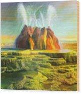 Spitting-fly Geyser In Nevada Wood Print