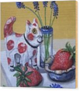 Spotted Cat With Strawberries Wood Print