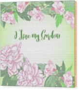Spring  Background With White And Pink Peony Wood Print