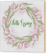 Spring  Wreath With Pink White Tulips Wood Print