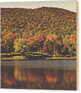 Squantz Pond In Autumn Wood Print