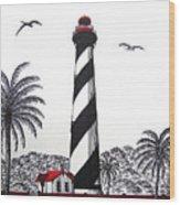 St Augustine Lighthouse Christmas Card Wood Print