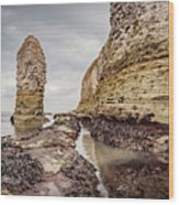 Stack And Chalk Cliff Wood Print