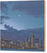 Star Over Chicago Wood Print