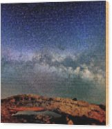 Starry Night Over Mesa Arch Wood Print