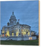 State House Night Wood Print