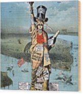 Statue Of Liberty Cartoon Wood Print