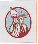 Statue Of Liberty Holding Flaming Torch Circle Retro Wood Print
