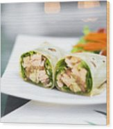 Steamed Salmon And Salad Wrap Wood Print