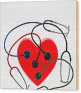 Stethoscopes And Plastic Heart Wood Print