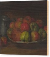 Still Life With Apples And A Pomegranate Wood Print
