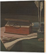 Still Life With Book Papers And Inkwell Wood Print