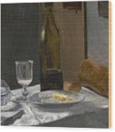 Still Life With Bottle Carafe Bread And Wine Wood Print