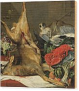 Still Life With Dead Game, A Monkey, A Parrot, And A Dog Wood Print