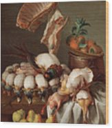 Still Life With Dressed Game, Meat And Fruit Wood Print