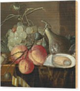 Still Life With Fruit And Oysters On A Table Wood Print