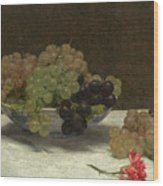 Still Life With Grapes And A Carnation Wood Print