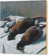 Still Life With Pheasants And Plovers Wood Print