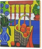Still Life With Red Chair And Oranges Wood Print