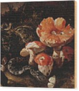 Still Life With Serpents, Fly Agarics And Thistles Wood Print