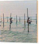 Stilt Fishermen - Sri Lanka Wood Print