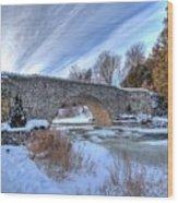 Stone Bridge At Webster Falls Wood Print