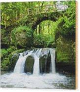 Stone Bridge Over River Wood Print