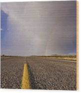 Storm And Rainbow Along The Highway Wood Print