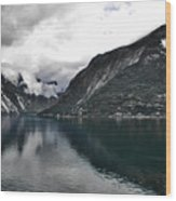 Storm In The Fiord Wood Print