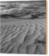 Storm Over Sand Dunes Wood Print