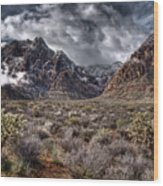 Stormy Day At Red Rock Wood Print