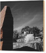 Straight Edge Boulder Enchanted Rock Texas Wood Print