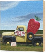 Strawberry Truck Wood Print