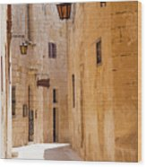 Street Sceane Mdina,malta Wood Print