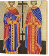 Sts. Constantine And Helen Wood Print by Amy Reisland-Speer