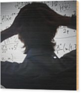 Student Holding His Head Looking At Complex Math Formulas On Whiteboard Wood Print
