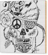 Sugar Skull #3  War And Peace Wood Print