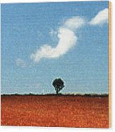 Summer Field With Two Trees 2 Ae2 Wood Print