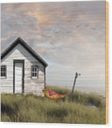 Summer Shack With Hammock By The Ocean Wood Print