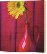 Sunflower In Red Pitcher Wood Print