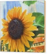 Sunflower In The City Wood Print