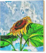 Sunflower In The Sky Wood Print