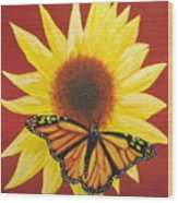 Sunflower Monarch Wood Print