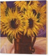 Sunflowers In A Copper Can Wood Print
