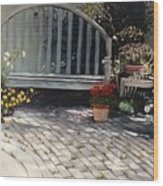 Sunlit Courtyard Wood Print