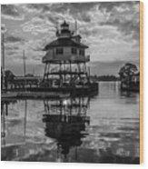 Sunrise At Drum Point Lighthouse Wood Print