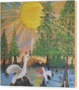 Sunrise In The Pelican State Wood Print