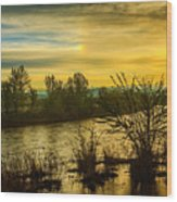 Sunrise On The Payette River Wood Print