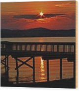Sunrise Over The Pier Wood Print