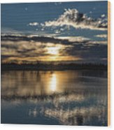 Sunrise Reflections On The Great Plains Wood Print